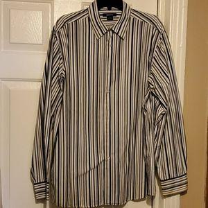 Claiborne black, white, gray striped dress shirt